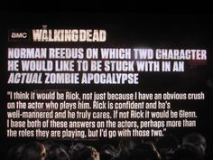 "Norman Reedus on Which TWD Character He Would Like to be Stuck With in an Actual Zombie Apocalypse, Screenshot from The Walking Dead S3E10 - ""Home"""