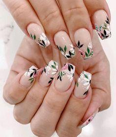 May 2020 - spring nails, spring nail trends, spring nail art , spring nail ideas mismatched nail colors Cute Nails, Pretty Nails, My Nails, Dark Nails, Pink Nail Art, Acrylic Nail Art, Floral Nail Art, Cool Nail Art, Nail Art Designs