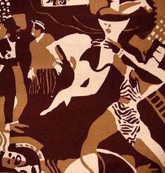 "13.5 yds Phenomenal Vintage Scalamandré Art Deco Radio City ""History of the Theater"" Lg Scale Linen Handprinted Drapery Fabric"