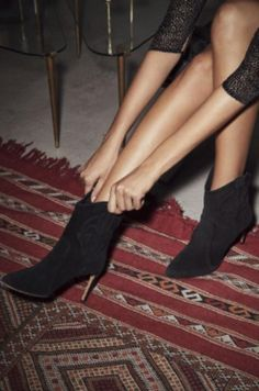 BOOTEES CAITLIN NOIR // ba&sh #shoes #covetme #sponsored Bash, Stiletto Heels, High Heels, Low Boots, Silhouette, Suede Material, Let Them Talk, Suede Ankle Boots, Shop Now