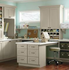 Martha Stewart: Fantastic craft room with built-in l-shaped Martha Stewart Seal Harbor Cabinets in taupe ...