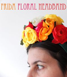 How To: Frida Kahlo inspired Floral Headband ▽▼▽ My Poppet     If you want to make a floral headband for your own costume or even as a bridal wedding headpiece read on...