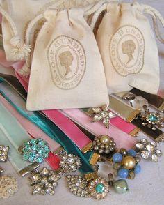 Bookmark from velvet ribbon and vintage jewelry. Oh so pretty! https://www.ribbonjar.com/Velvet_Ribbon_s/30.htm