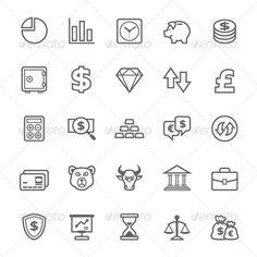 25 Outline Stroke Finance&Stock Icons