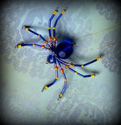 Cobalt Christmas  Spider Ornament Sun catcher by AlaArt on Etsy, $13.00