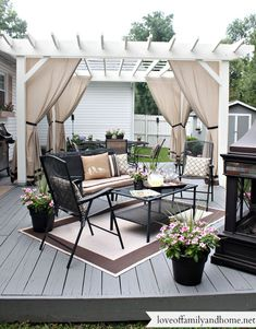 You don't need to travel far for a relaxing outdoor retreat. Turn your backyard into a beautiful oasis with one of these pergola ideas. We found free pergola plans, as well as fun decorating ideas for existing patio and porch covers. Pergola Curtains, Wood Pergola, Deck With Pergola, Backyard Pergola, Modern Pergola, Free Standing Pergola, Low Deck, Rustic Pergola, Pergola Carport