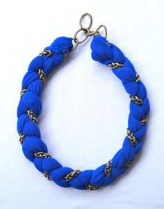 Chain and Fabric Braided Bracelet