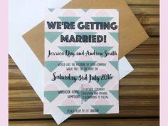 Geometric Retro Themed Wedding Invitation by PinkPersian on Etsy