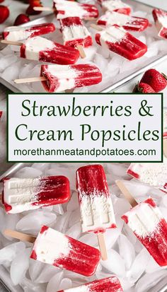 Simple homemade strawberry cream popsicles featuring fresh berries, whipped cream, and natural sweeteners. Dairy and non-dairy popsicle options included! #morethantmeatandpotatoes Healthy Yogurt, Creamed Honey, Strawberry Puree, Whipped Cream, Ice Cream, Summer Berries, Strawberries And Cream, Dessert Recipes, Desert Recipes
