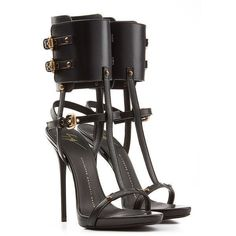 Giuseppe Zanotti Leather Stilettos ($565) ❤ liked on Polyvore featuring shoes, sandals, heels, scarpe, black, women, ankle cuff sandals, high heel stilettos, black heeled sandals and ankle strap sandals #giuseppezanottiheelssandals #highheels