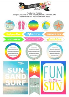 FREE Summer Printables by D-lish Scraps