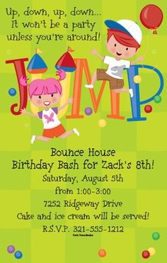 Bounce House Kids Balloons Birthday Jump Party Invitations