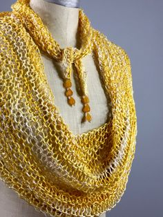 Wearble Fiber Art, Mindful Wrap-Glistening Yellow Chalcedony Beads on a Luminous Yellow and Cream Spun Silk Mindfulness Mantle by OnSlenderThreads on Etsy Moon Shapes, Cloak, Mantle, Fiber Art, Beaded Necklace, Mindfulness, Silk, Beads, Yellow