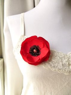Poppy Brooch Pin, Red and Black Fabric Flower Broach, Poppies, Bridal Fascinator, Poppy Bridesmaid, Bright Red via Etsy