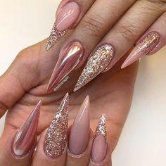 Stiletto pink chrome and rose gold french nail design! Beautiful Nails by @solinsnaglar ✨Ugly Duckling Nails page is dedicated to quality, inspirational nails created by International Nail Artists #uglyduckling5k #nailartaddict #nailswag #nailaholic #nailgameproper #nailart #art #st