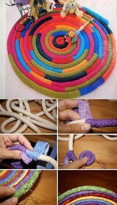 Crochet ideas 847099011139230902 - 15 DIY Pour Faire Tapis Source by Rope Crafts, Diy And Crafts, Decor Crafts, Braided Rag Rugs, Crochet Carpet, Diy Carpet, Stair Carpet, Hall Carpet, Carpet Ideas