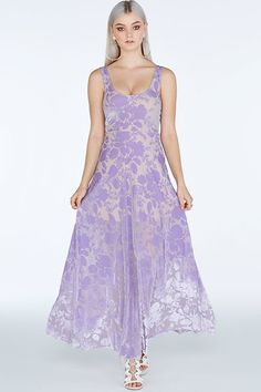 Burned Velvet Lilac Maxi Dress- Limited (A$120)