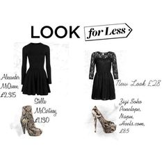 #Polyvore #Fashion #LookForLess #AlexanderMcQueen #StellaMcCartney #NewLook #CheapAndChic #Black #Dress #Snake #SnakeSkin #Heels #Shoes