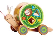 Hape's Walk-A-Long Snail Toddler Wooden Pull Toy is the perfect companion for little ones just beginning to learn about sorting colors and shapes. Aqua Doodle, Sorting Colors, Hape Toys, Shape Sort, Push Toys, Learning Shapes, Gross Motor Skills, Wooden Blocks, Toddler Toys