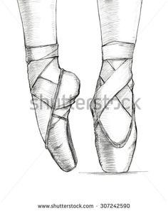 Hand-drawn illustration of delicate ballerina's feet in dancing ballet pointe shoes. Hand drawing in pencil. Illustration isolated on white background. Ballet Shoes Drawing, Ballerina Drawing, Ballet Drawings, Dancing Drawings, Pencil Art Drawings, Art Drawings Sketches, Easy Drawings, How To Draw Ballerina, Feet Drawing