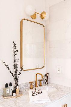 Marble Bathroom Refresh + Parachute's Bath Line. Marble Bathroom Refresh + Parachute's Bath Line Home Interior, Bathroom Interior, Modern Bathroom, Small Bathroom, Interior Design, Parisian Bathroom, Bathroom Marble, Gold Mirror Bathroom, White Bathroom