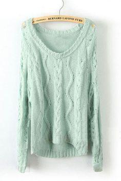 Light Green Long Sleeve Diaper Hollow Pullovers Sweater