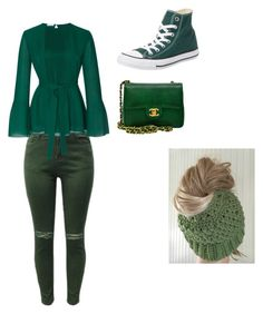 """Bulbasaur outfit"" by pokemonpikachuuuuuuu on Polyvore featuring Oscar de la Renta, Converse and Chanel"
