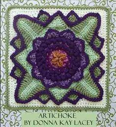 Artichoke crochet square. Pattern on Etsy for a dollar and 99 cents.
