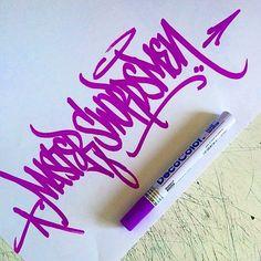 Menace2 (@menace.two) wielding purple blades. #menace2 #handstyle #graffiti //follow @handstyler on Instagram