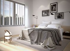 A Merry Mishap: Furuhusen Monochrome Bedroom, White Bedroom, Master Bedroom, Bedroom Decor, White Houses, Interior Design Tips, Scandinavian Interior, House Rooms, Architecture