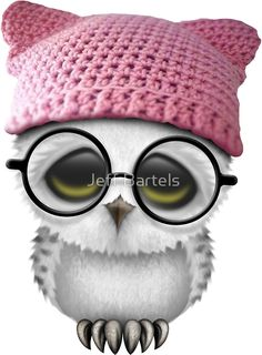Nerdy Baby Owl Wearing Pussy Hat