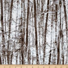 Kanvas Into the Woods Forest Trees Moss from @fabricdotcom  Designed by Maria Kalinowski for Kanvas, in association with Benartex, take a trip to the great outdoors with this cotton print fabric is perfect for quilting, apparel, and home decor accents. Colors include brown, white and light blue.