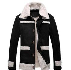 2898e463ee3 Details about Men s Peacoat Slim Fur Lining Coat Suede Wool Overcoat Warm  Fleece Jacket Parka Fur