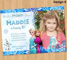 Printable Frozen Invitation - Frozen Birthday Invitation with Photo  - Elsa Anna Disney Frozen Party Invites Ideas Olaf Snowflake 4x6 or 5x7 by KidsPartyPrintables on Etsy https://www.etsy.com/listing/177325439/printable-frozen-invitation-frozen