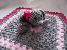 elle the elephant comfort blanket  baby by Littlesteppingstones, $19.50
