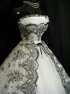 Vintage Tea Length Dress with Black Lace Tracery