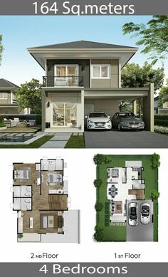 M – Home Ideassearch Single Detached House 164 Sq.M – Home Ideassearch Image Size: 640 x 1056 Source 2 Storey House Design, Duplex House Design, Townhouse Designs, Simple House Design, House Front Design, Cool House Designs, Modern House Design, House Layout Plans, House Layouts