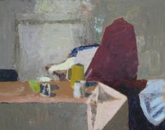 """""""Old Lyme Studio Bordering on the abstract, the triangular shapes versus the more flowing shapes of the drapery. I used mostly the palette knife to paint this. Be Still, Inspiration, Artist Studio, Still Life, Still Life Art, Painting, Artwork, Abstract"""