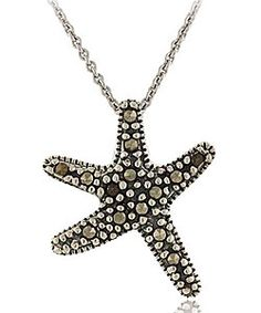 Sterling silver and marcasite starfish necklace. 20 mm by 17 mm. Looks small, but still, very cute. $10.99