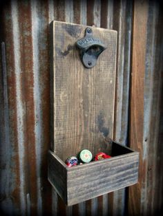 Man cave idea - Beer Bottle Opener and Cap Catcher - Brown. Great for a bar room/man cave! I like the throwback look Bar Pallet, Man Cave Pallet Ideas, Beer Bottle Opener, Bottle Caps, Wall Mounted Bottle Opener, Bottle Openers, Man Cave Garage, Man Cave Basement, Wood Pallets