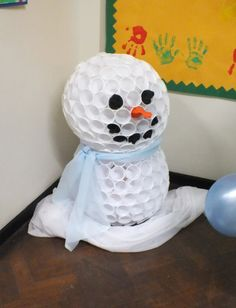 Snowman out of plastic cups.  decorating idea for winter theme in January?
