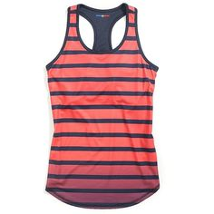 Tommy Hilfiger Final Sale- Sport Stripe Active Tank (£16) ❤ liked on Polyvore featuring activewear, tommy hilfiger and sports activewear