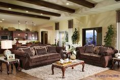 Furniture of America Renold Traditional Brown Printed Chenille Fabric Sofa Living Room Furniture, Home Furniture, Living Room Decor, Furniture Design, Wayfair Living Room Sets, Sofa And Loveseat Set, Diy Sofa, Brown Sofa, Wholesale Furniture