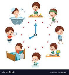 Vector illustration of kids daily routine activities Premium Vector Kindergarten Activities, Learning Activities, Kids Learning, Activities For Kids, Daily Routine Activities, Fun Crafts, Crafts For Kids, Routine Chart, Education Positive
