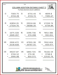 Column Addition Decimals, math addition worksheet decimals 5th grade ...