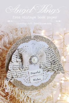 Shabby Art Boutique - Angel Wings Christmas Ornamet - made with vintage book paper