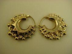 Vintage Repousse 9CT Gold Victorian Revival Design Earrings ~ c1940s