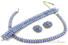 Vintage BLUE Moonstone Gold Tone Necklace, Bracelet & Screw Back Earrings SET