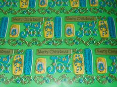 Vtg Christmas Store Wrapping Paper Gift Wrap 2 Yards Green Gold Groovy Retro • $9.99 - PicClick