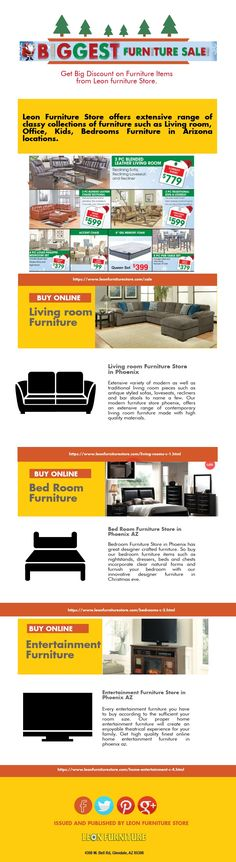 Enjoy the biggest deals on Christmas Furniture Sale! Leon Furniture Store offers classy collections of furniture such as Living room, Office, Kids, Bedrooms Furniture in Arizona locations.